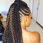Lovely cornrow and twists combo