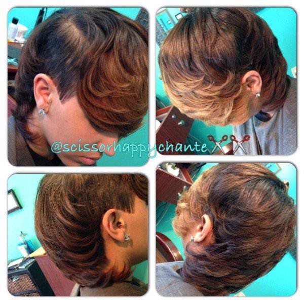 Under cut with ombre bangs @scissorhappychante
