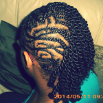Half side cornrows with kinky twists