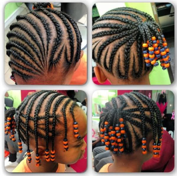 Cute Kids Style Braids And Beads Black Hair Information