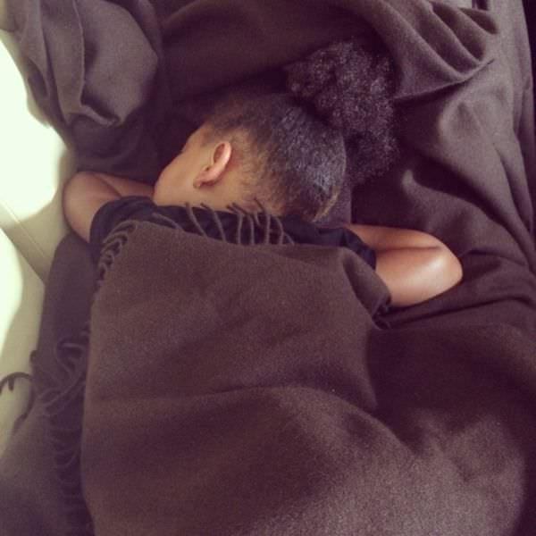 Blue Ivy napping in afro puff