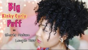 Huge Curly Puff for Short/Medium Length Natural Hair