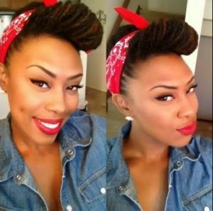 Rosie The Riveter Updo With Locs