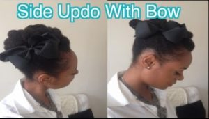 Side Updo With Bow On 4C Natural Hair