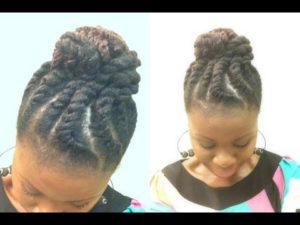 Jumbo Flat Twist Marley Chignon On Natural Hair