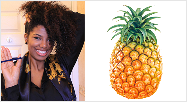 hair pineapple and pineaapple fruit