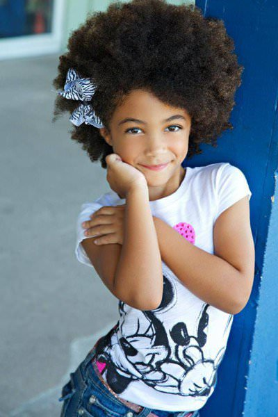 little girl with a fro