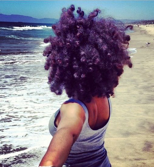 natural hair at the beach