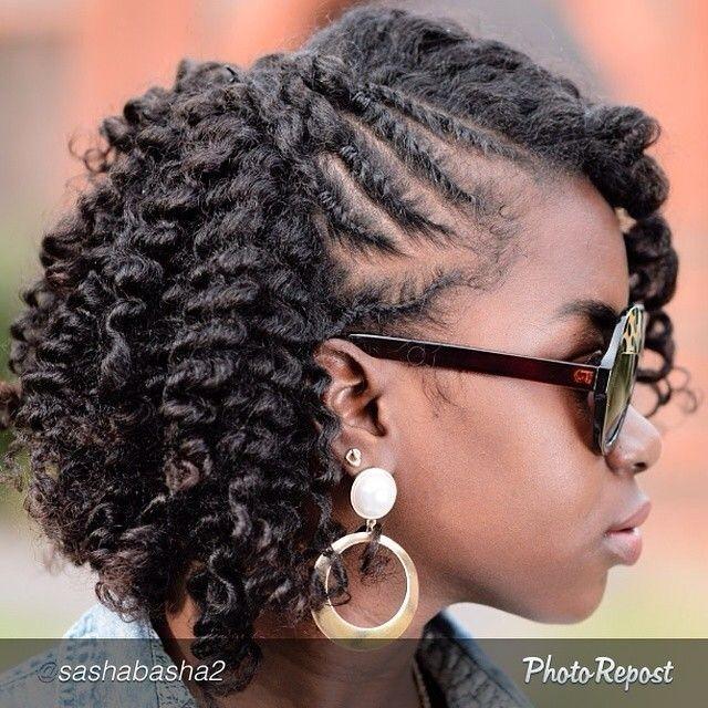 A corn row hair style