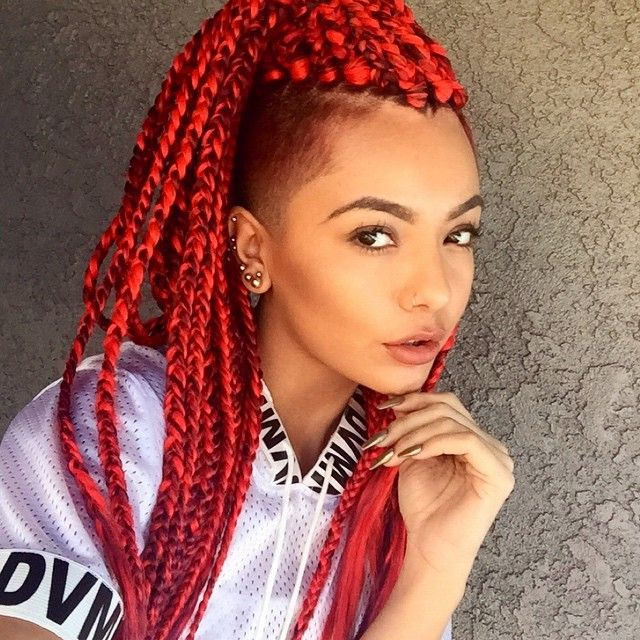 Crochet Box Braids Red : Goddess Braids Hairstyles furthermore Black Box Braids With Color Red ...