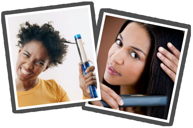 Black women flat ironing their hair