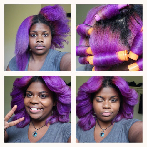 purple rollerset