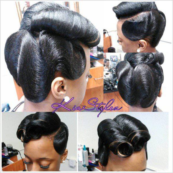 retro glam victory rolls n waves   black hair information