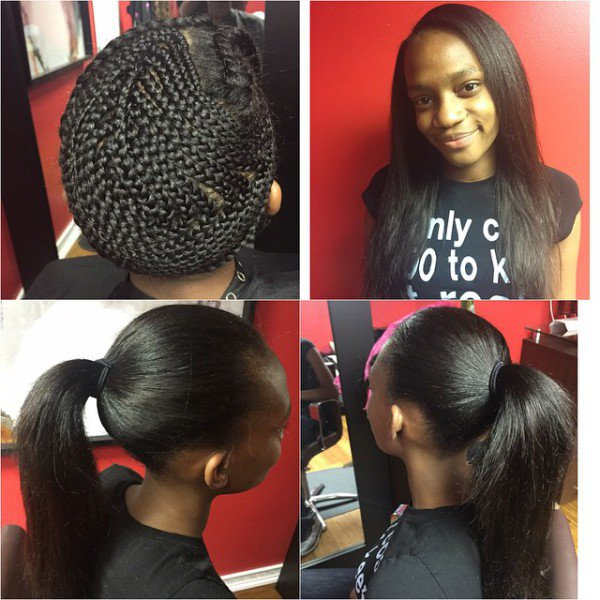 styles for weaves black hair nynystyles great sew in and that braid pattern is no joke 7049