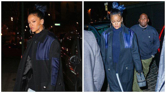 Rihanna Casual Glam - Blue Hair In A Lazy Bun