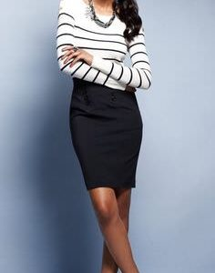 Short pencil skirt and blouse