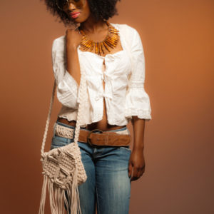 Ruffle top, jeans and matching bag