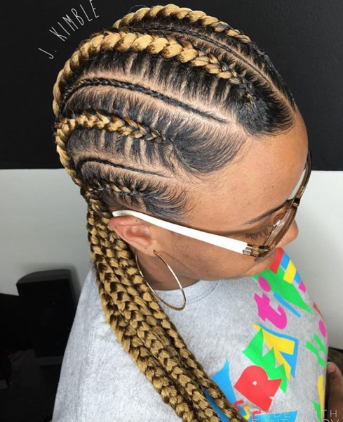 Clean feed in braids by @_j.kimble , Black Hair Information
