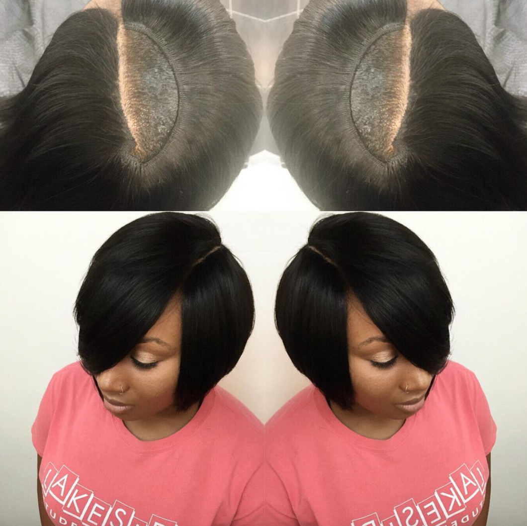 Nice Invisible Part Quick Weave Via Hairbylatise Black