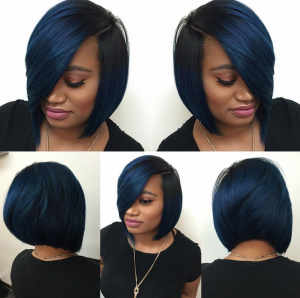 dope blue bob via @hairbylatise black hair information