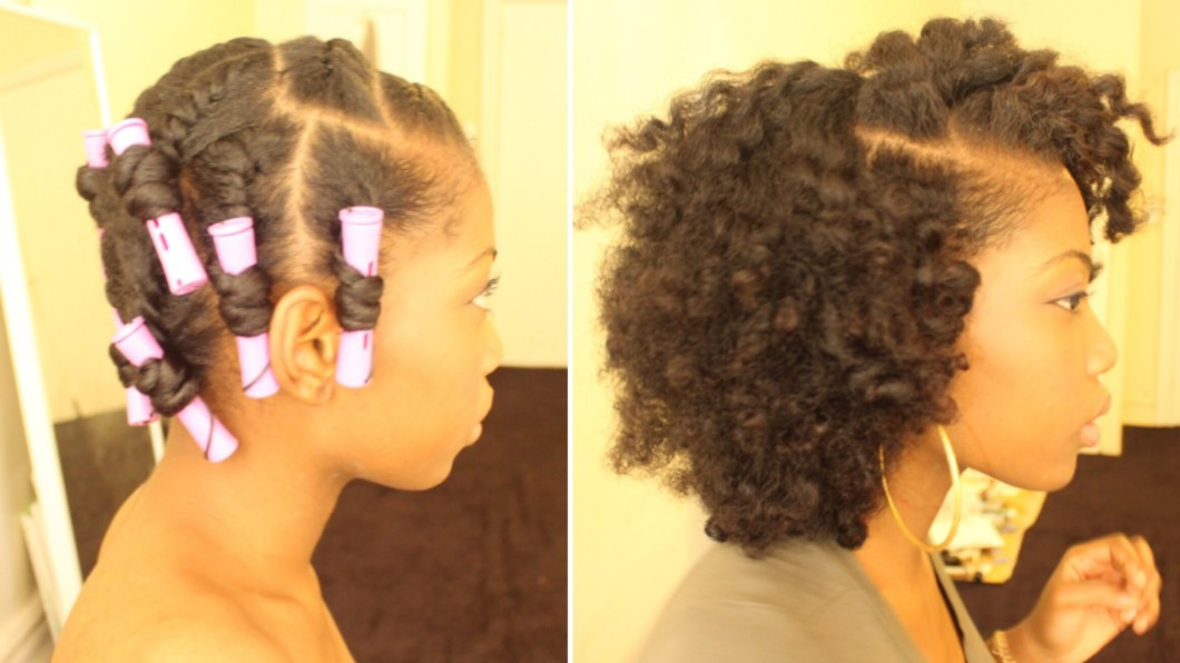 Flat Twist Out On Dry Natural Hair With Perm Rods Black