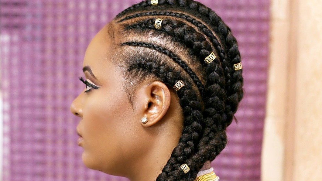 Remarkable How To Cornrow With Extensions Feed In Braids Black Hair Short Hairstyles Gunalazisus