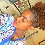 Natural Hair High Puff With French Braid [Video]
