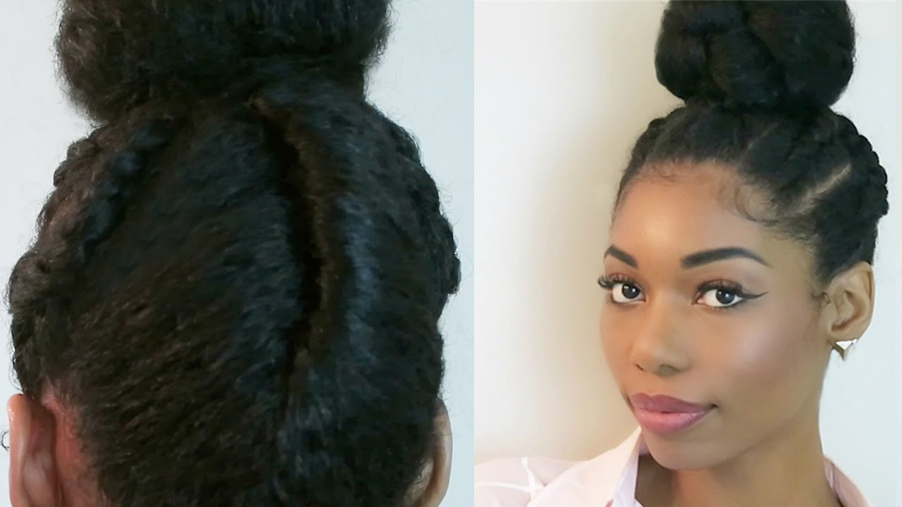Protective Hairstyles Dutch Braids: NATURAL PROTECTIVE HAIRSTYLE : DUTCH BRAIDS INTO A BUN