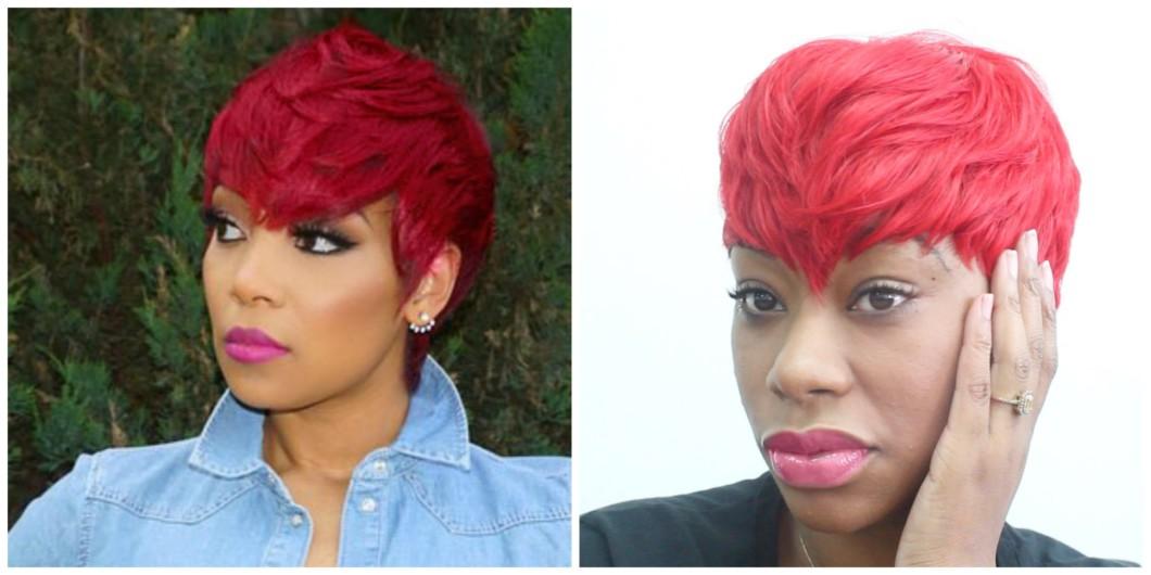 Short Red Hair Cut On Natural Black Hair