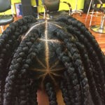 Patterned box braids via @narahairbraiding