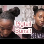 Easy Pigtail Space Buns: natural curly hair