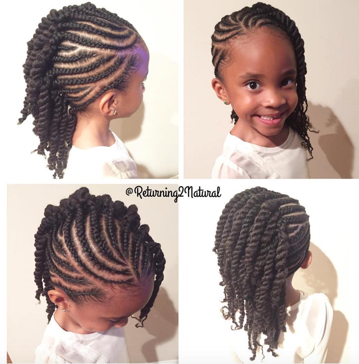 Cute kid friendly style by @returning2natural  Black Hair - Black Kids Hairstyles Braids