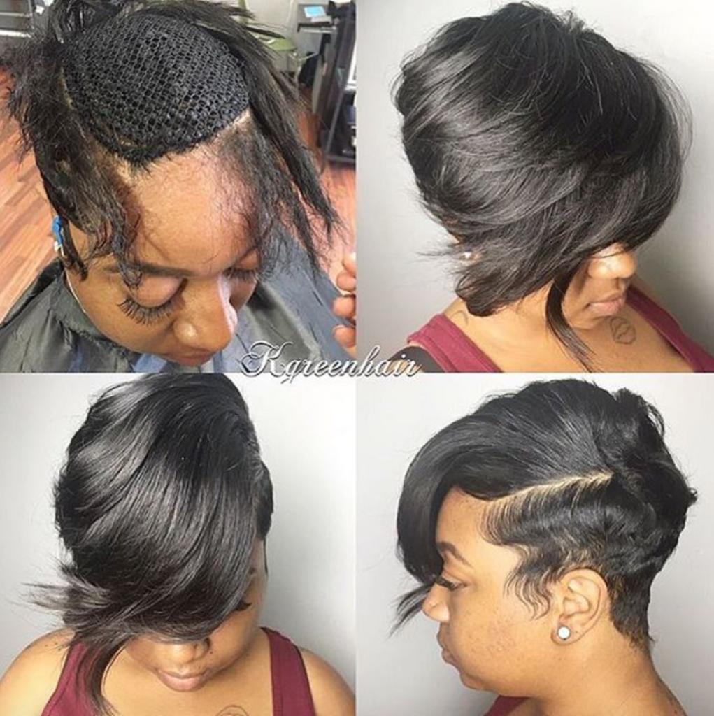 nice short sew in by @k.green_hair - black hair information