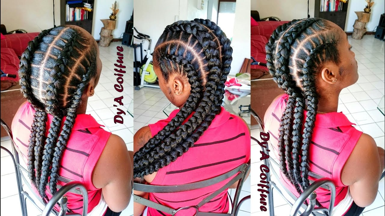 How To ★ 4 Feed In Stitch Braids Video Black Hair