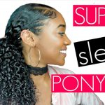 How to: Get a Sleek Curly Ponytail (+Laid Edges)| Natural Hair [Video]