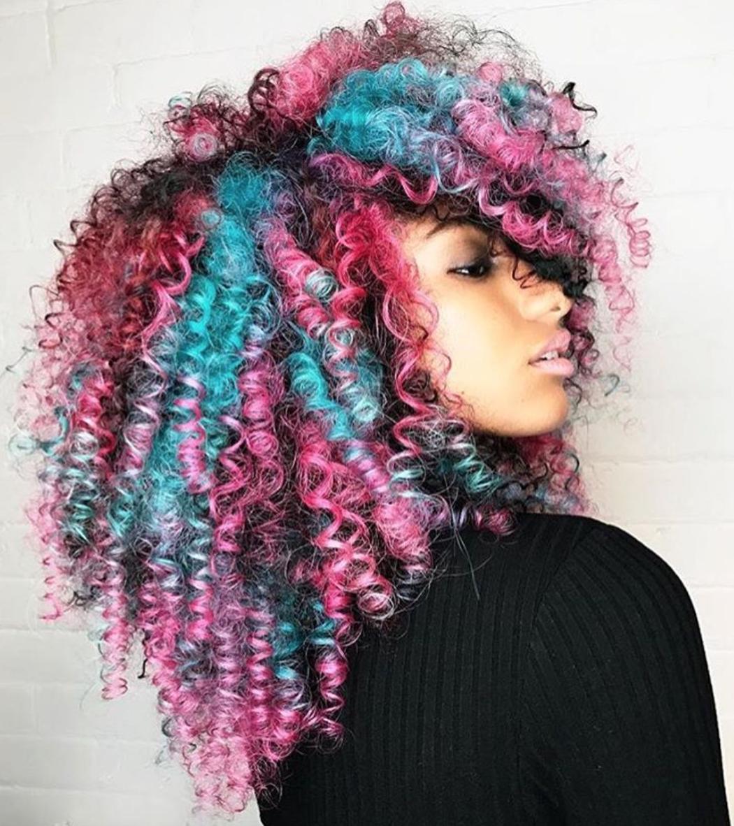 Natural Black Hair Dyed Blue