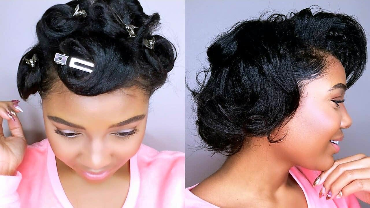 how to style my black hair how to style relaxed hair pin curls tutorial 5051