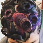 Creative colored pin curls via @salonchristol