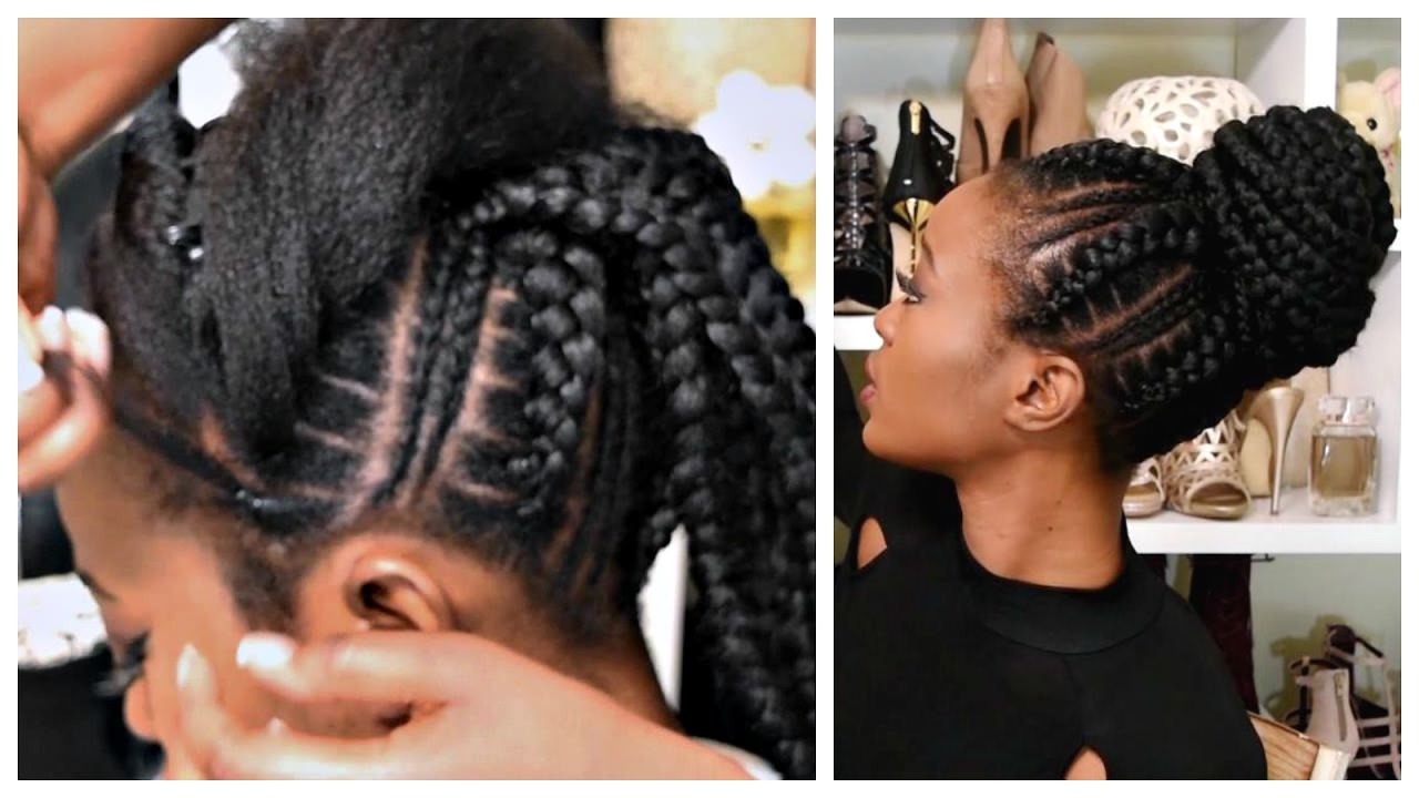 Feed In Stitch Braids Bun With Pre-Stretched Hair