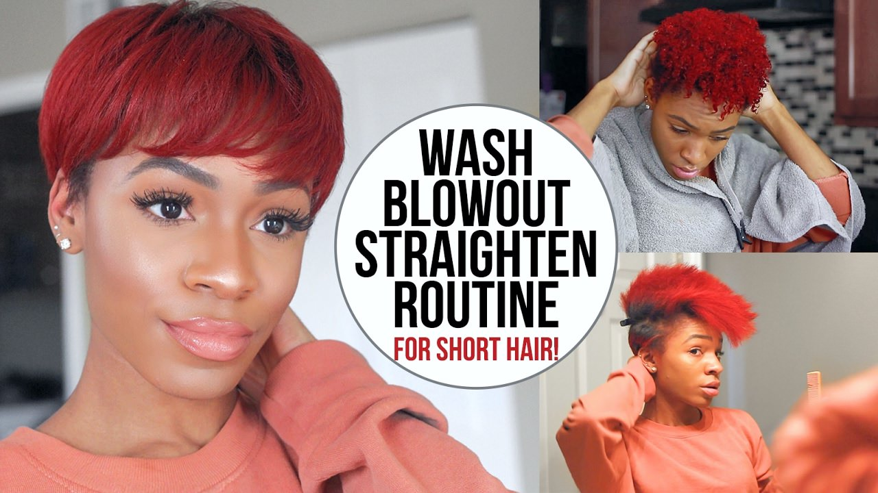 Wash Blow Dry And Flat Iron Routine For Short Natural