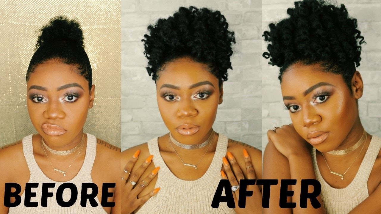 Braidless Crochet Curly Afro Puff On Short Natural 4c Hair