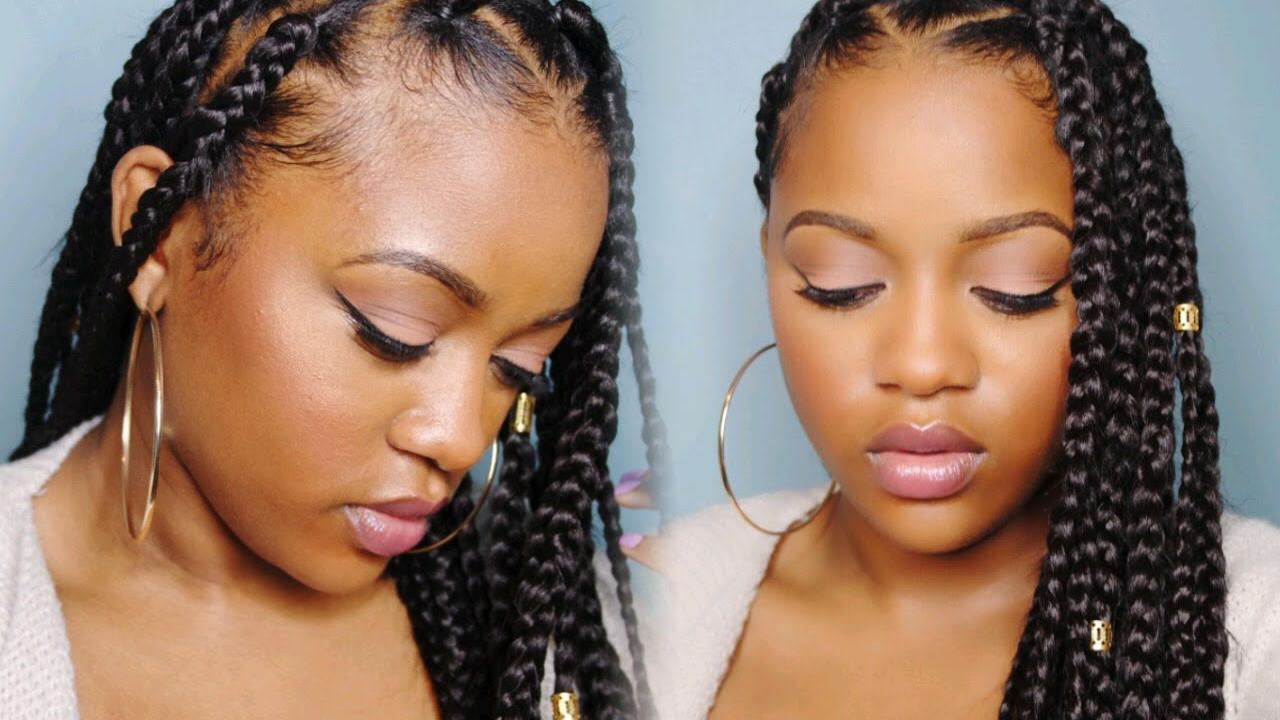 Easy Triangle Part Box Braids (Rubberband Method) [Video