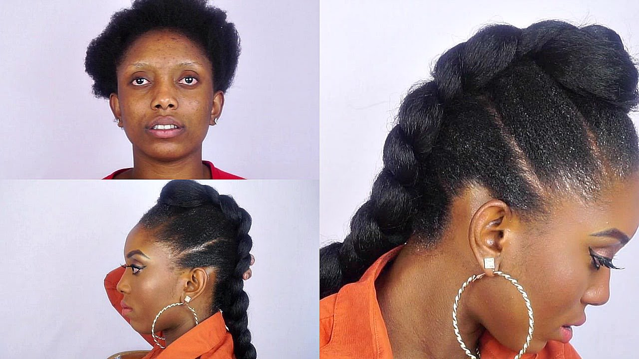 How To Faux Braided Mohawk On Short Natural Hair [Video