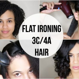 Curly to Straight | Flat Ironing My Natural Hair (3C/4A) [Video]