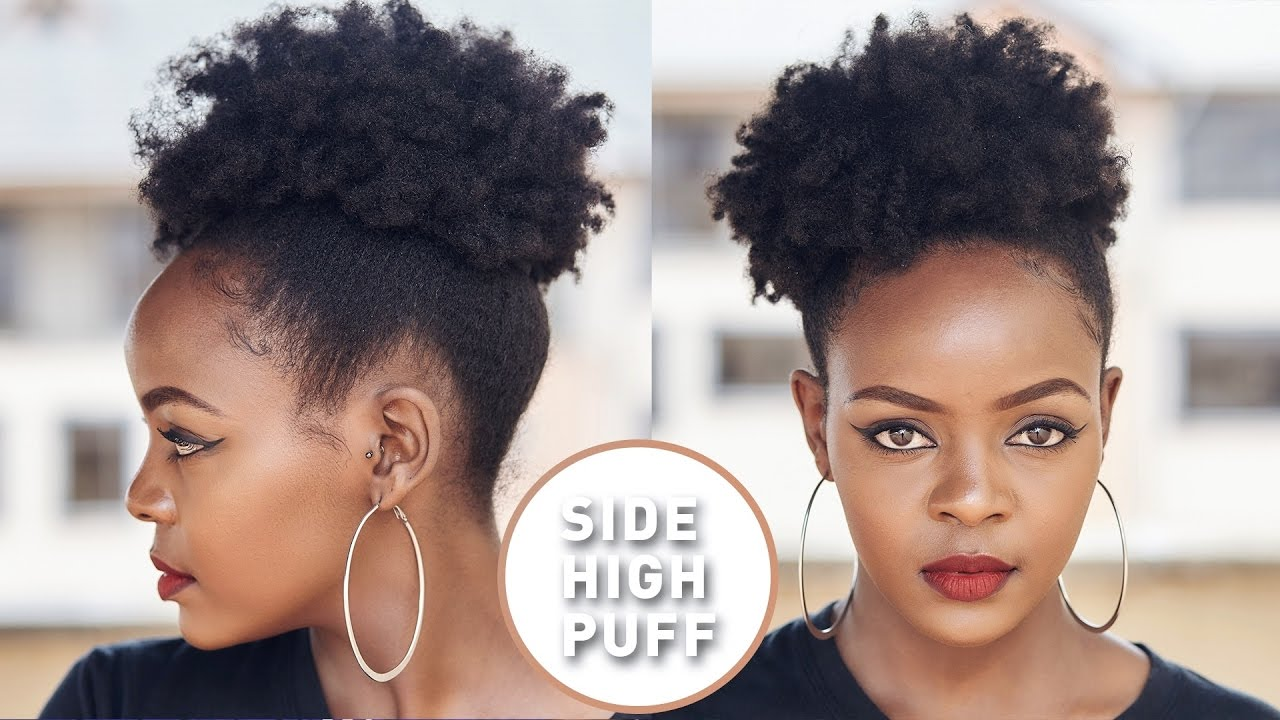 How To High Side Afro Puff On Natural Hair Video Black Hair