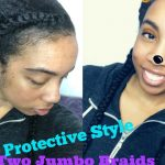 Protective Style |  Two Jumbo Braids with CURLS Blueberry Bliss + Chit Chat