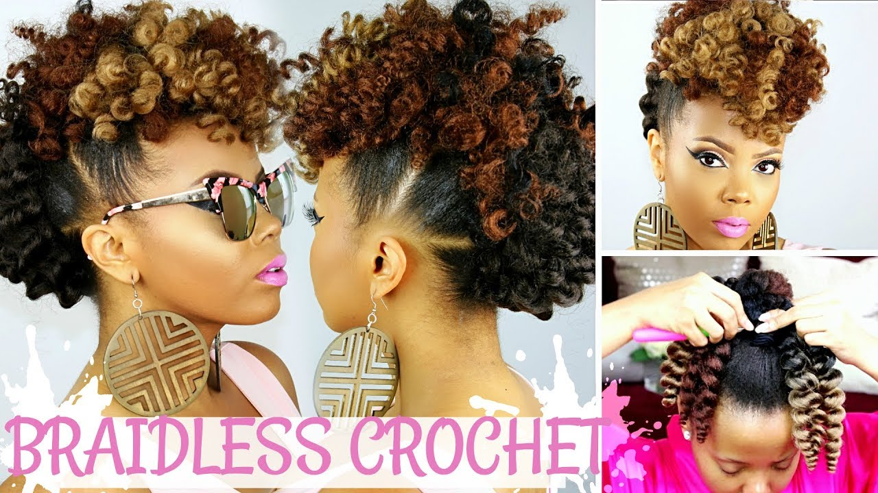 Braidless Crochet No Cornrows Curly Crochet Faux Hawk