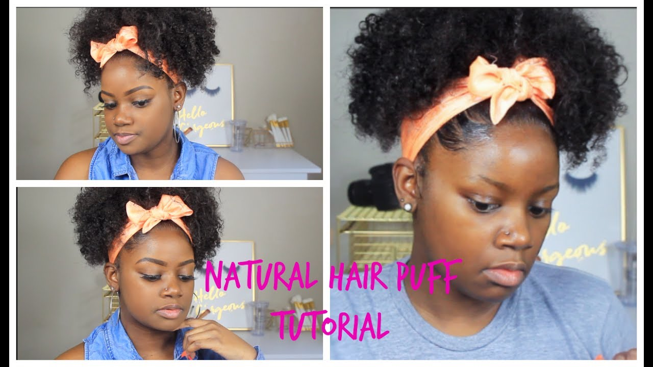 Quick and Easy Summer Natural Hairstyle   Puff Ponytail ...