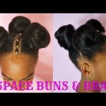 THREE SPACE BUNS W/EXTENSIONS & BRAID | KIDS NATURAL HAIR TUTORIAL [Video]