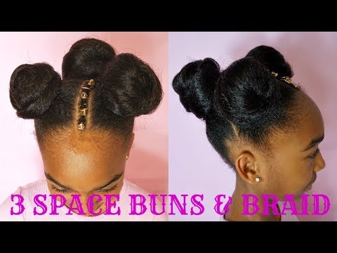 Three Space Buns W Extensions Amp Braid Kids Natural Hair